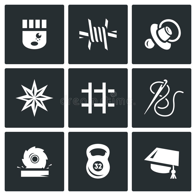 Vector Set of Prison Icons. Prisoner, Isolation, Supervision, Tattoo, Cell, Sewing, Woodworking, Sport, Education. vector illustration