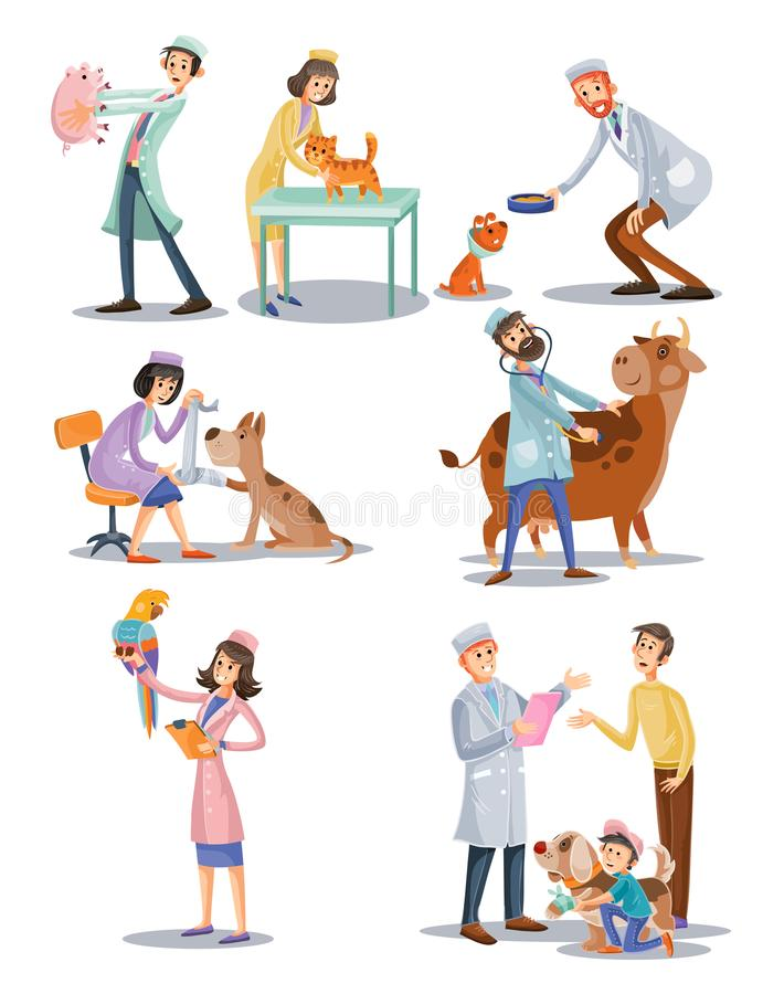 Vector set of professional vet doctors, animals, veterinary, clinic for pets. Cartoon characters, medical care concept. royalty free illustration