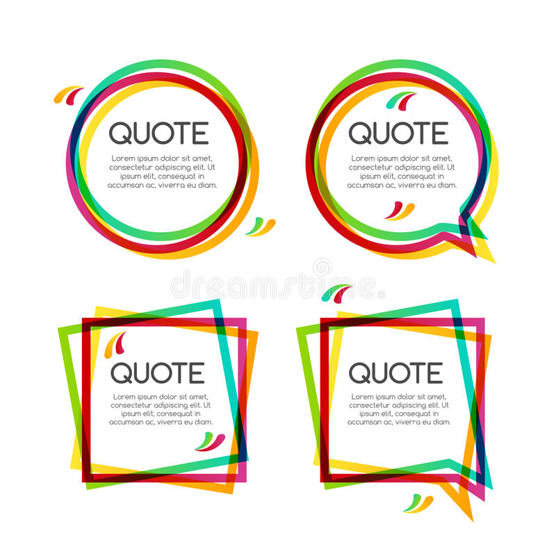 Free Vector Set Quote Frame, Colorful Quote Frames For Modern Design Stock Image - 72710271