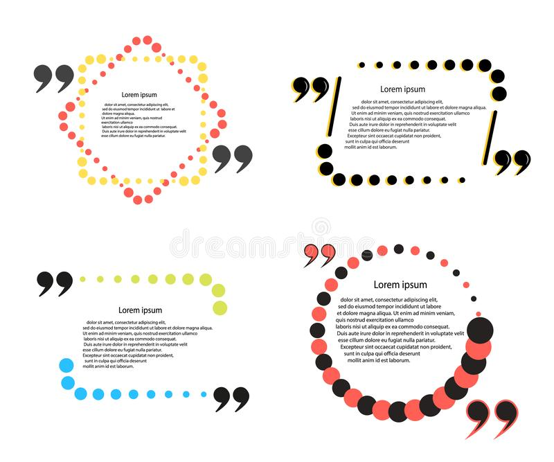 Vector Set of the quote template. Framework for comments, statements. The elements are isolated on a light background. royalty free illustration