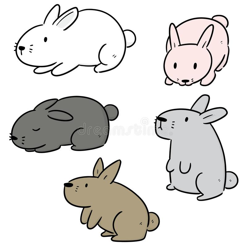 Vector set of rabbits. Hand drawn cartoon, doodle illustration vector illustration