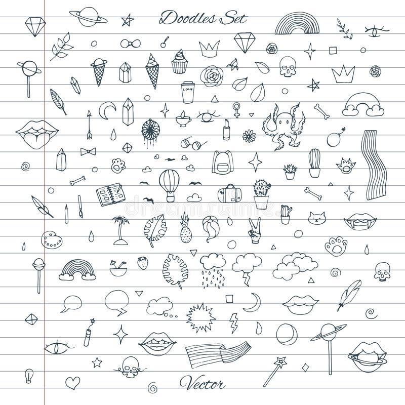 Vector set of random doodles with clouds, rainbows, lips, cats, cactus, plants stock illustration