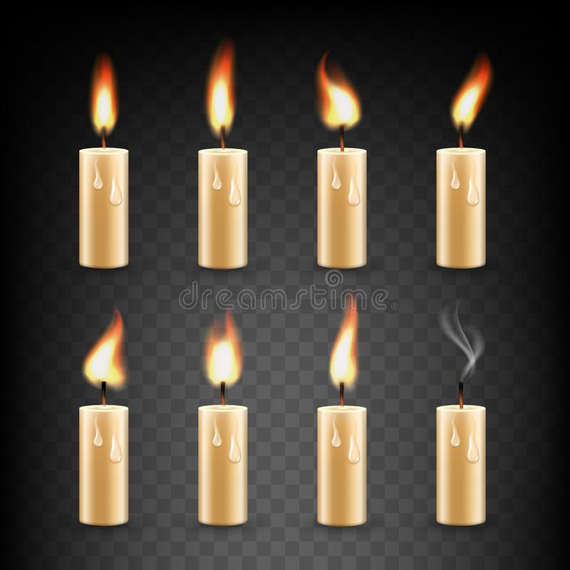 Vector realistic candle with fire animation icon set vector illustration