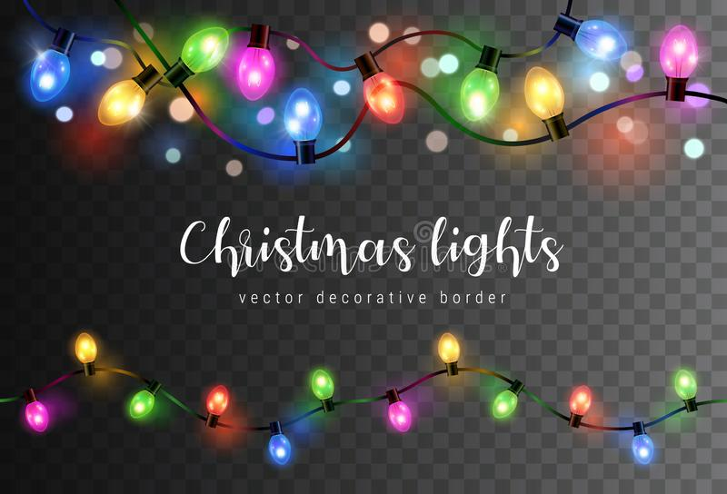 Vector set of realistic glowing colorful christmas lights in seamless pattern isolated on dark background vector illustration