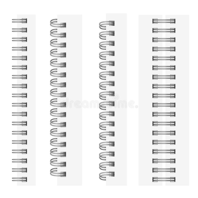 Vector set of realistic images of silvery spirals for a notebook. royalty free illustration