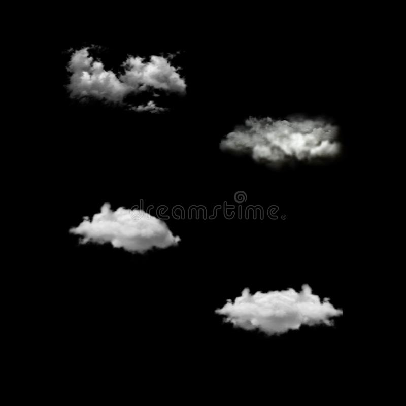 Vector set of realistic isolated cloud on the transparent background. royalty free stock photo