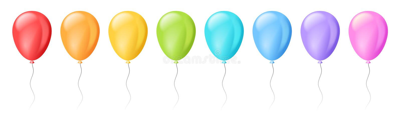 Vector set of realistic isolated colorful balloons stock illustration