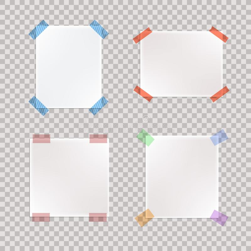 Vector Set of Realistic Taped Paper Pieces. vector illustration