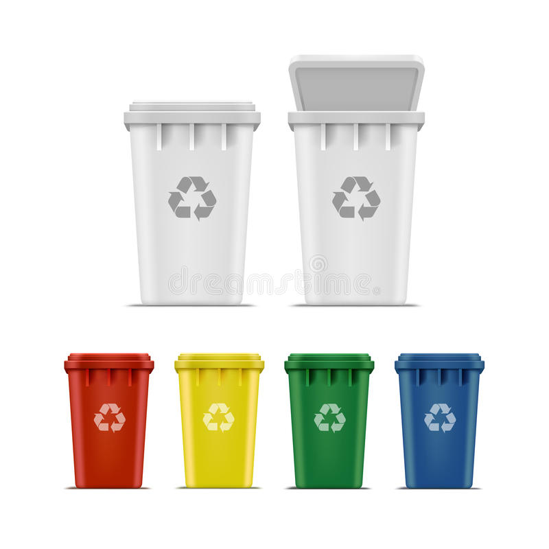 Vector Set of Recycle Bins for Trash and Garbage. Vector Set Recycle Bins for Trash and Garbage Isolated on White Background vector illustration