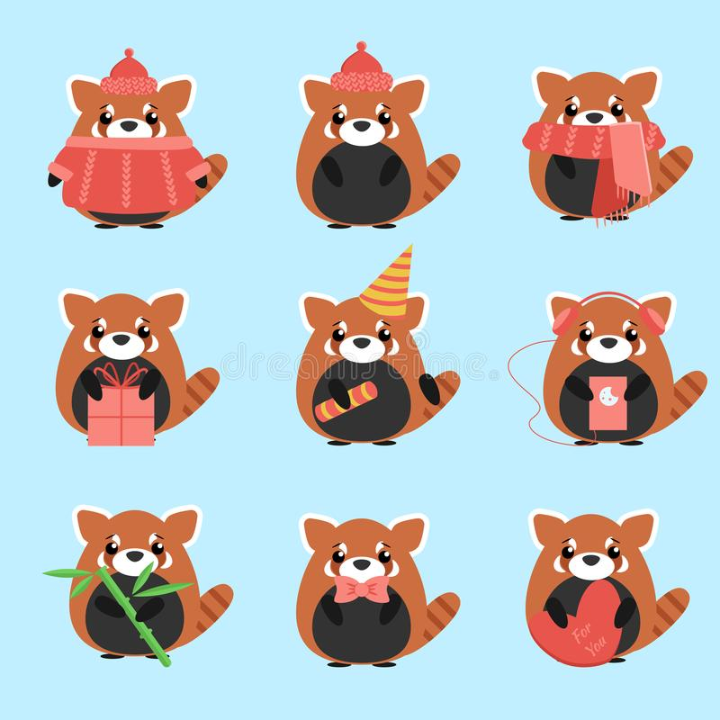 Vector set red pandas in warm clothes with different subjects: bamboo, hat, scarf, gift, heart, bow. Cartoon cute illustration stock illustration
