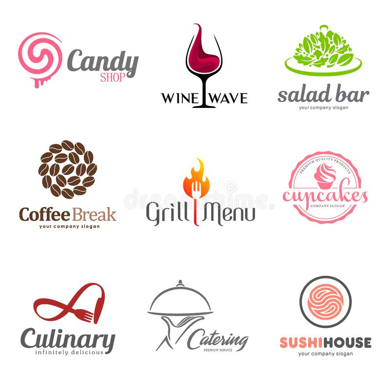 Vector set of restaurant logo design. Eco food, wine, sushi, cupcakes, coffee and grill icon. Dish elements icon design. Vector set of restaurant logo design stock illustration