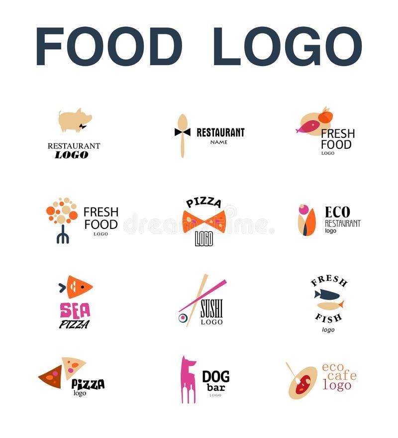 Vector set of restaurant logo design templates. Eco food, fast food, sushi, pizza icons, fish and sea food company insignia. Coffee and tea icons. Dish stock illustration