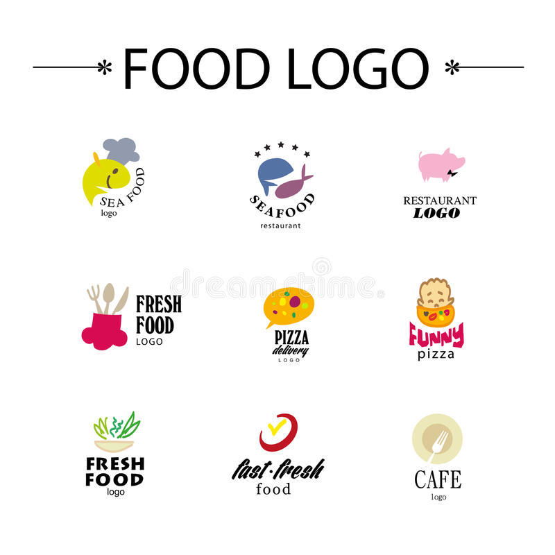 Vector set of restaurant logo design templates. Eco food, fast food, sushi, pizza icons, fish and sea food company insignia. Coffee and tea icons. Dish royalty free illustration