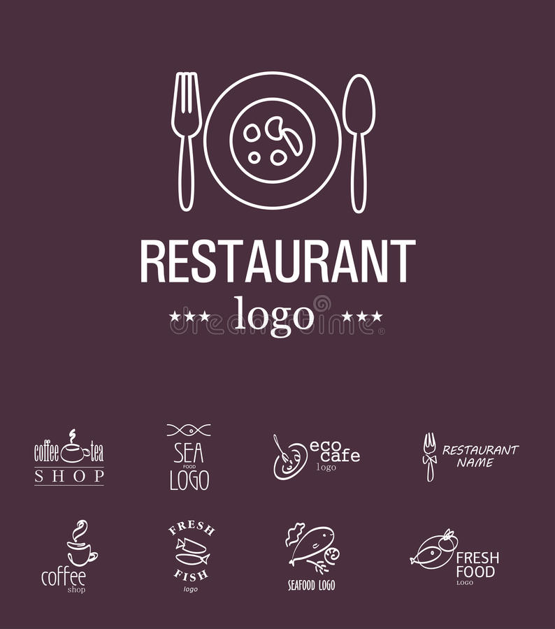 Vector set of restaurant logo design templates. Eco food, fast food, sushi, pizza icons, fish and sea food company insignia. Coffee and tea icons. Dish vector illustration