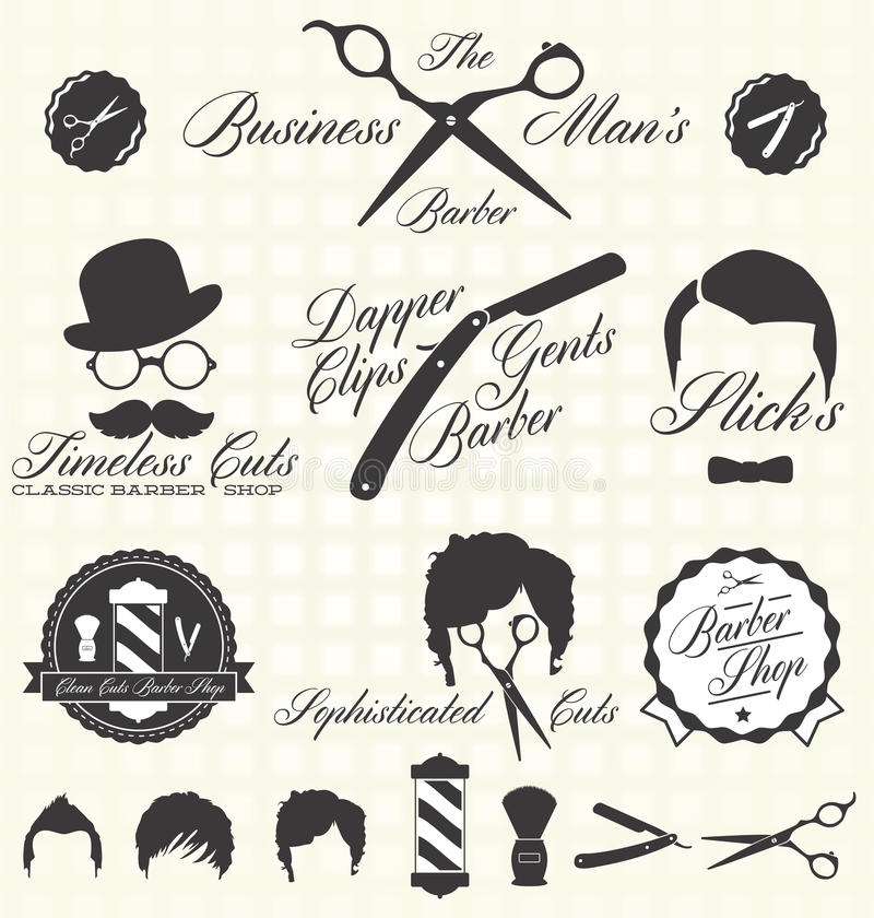 Free Vector Set: Retro Barber Shop Labels Stock Photo - 31492650