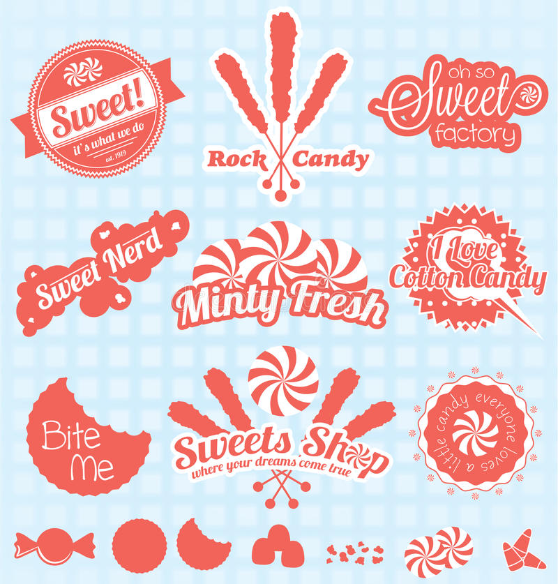 Vector Set: Retro Candy Shop Labels and Icons royalty free illustration