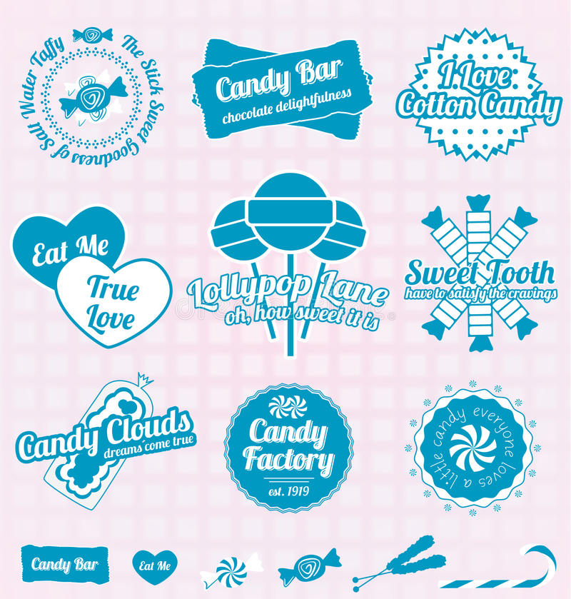 Vector Set: Retro Candy Shop Labels and Icons. Collection of vintage style candy shop labels and icons royalty free illustration