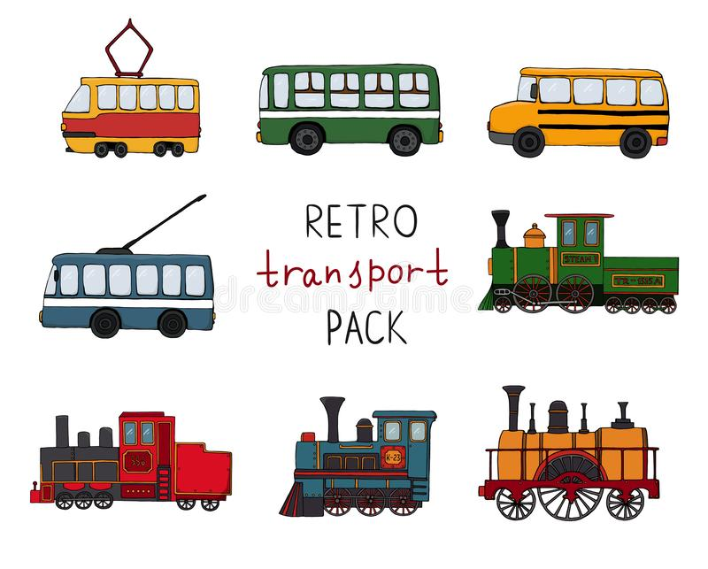 Vector set of retro engines and public transport. Vector illustration of vintage trains, bus, tram, trolleybus isolated on white stock illustration