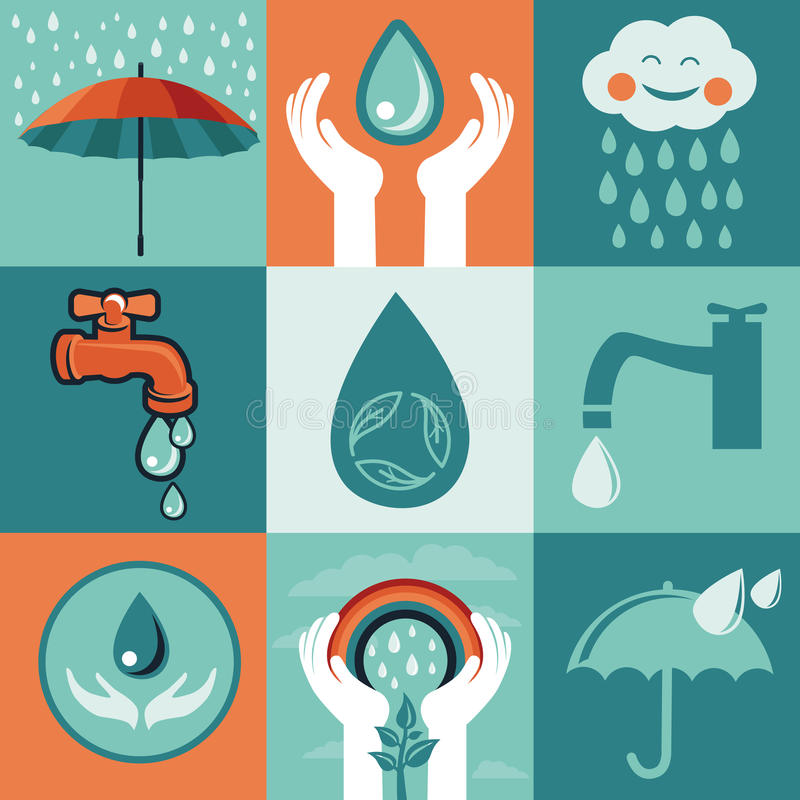 Vector set of retro flat banners - save water stock illustration