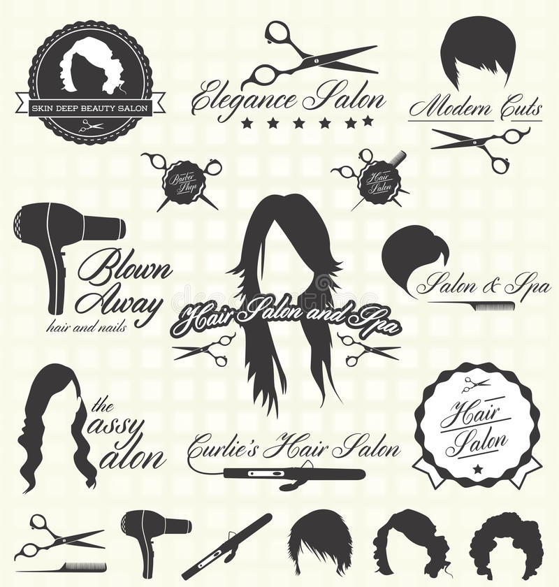 Vector Set: Retro Hair Salon Labels and Icons vector illustration