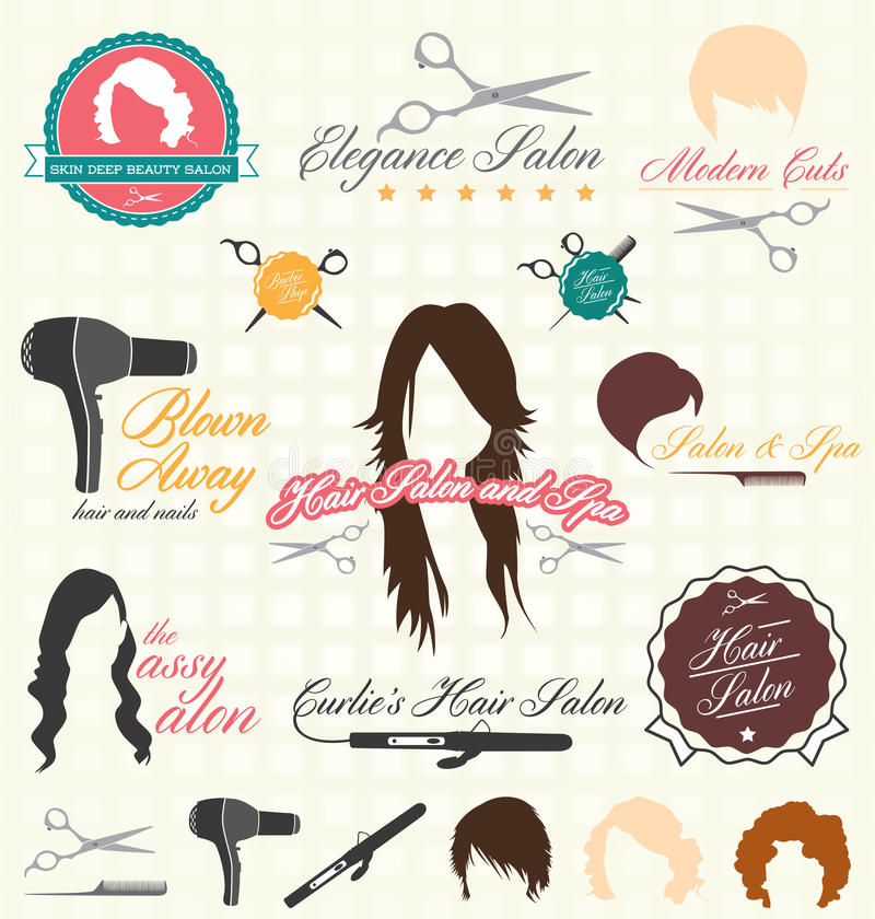 Vector Set: Retro Hair Salon Labels and Icons. Collection of vintage hair salon labels and iocns royalty free illustration
