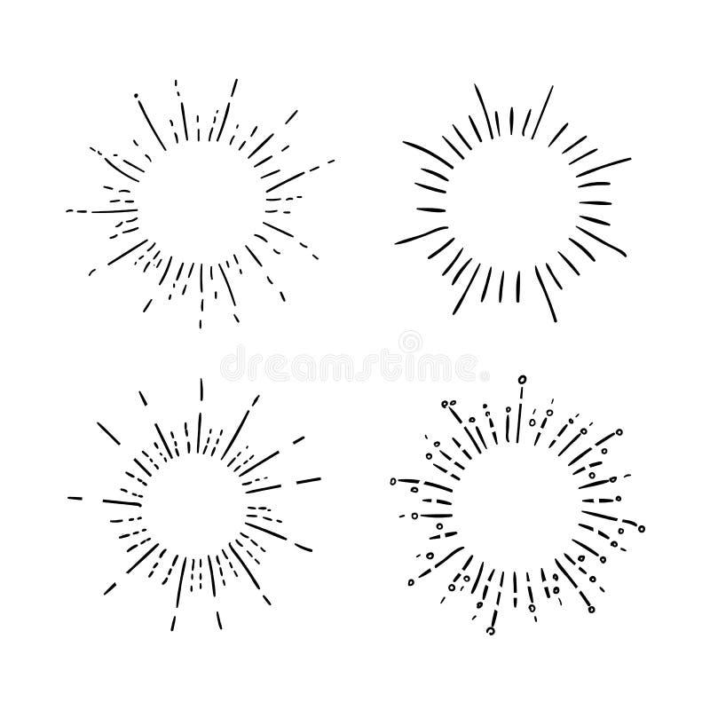 VECTOR set of retro hand drawn sunburst symbols, black drawings background. royalty free illustration