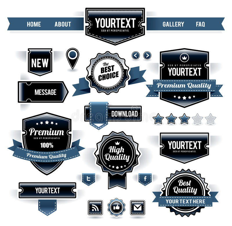 Vector set of retro labels. Buttons and icons