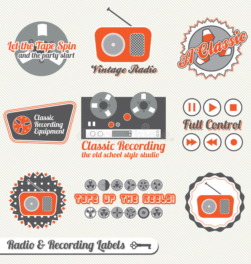 Download Vector Set: Retro Recording Labels And Stickers Stock Vector - Illustration of background, music: 27378495