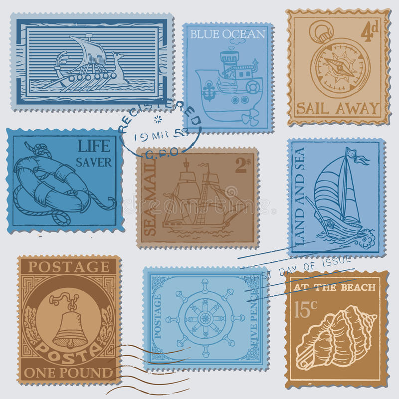 Download Vector Set Of Retro SEA POST Stamps Stock Vector - Image: 27262926