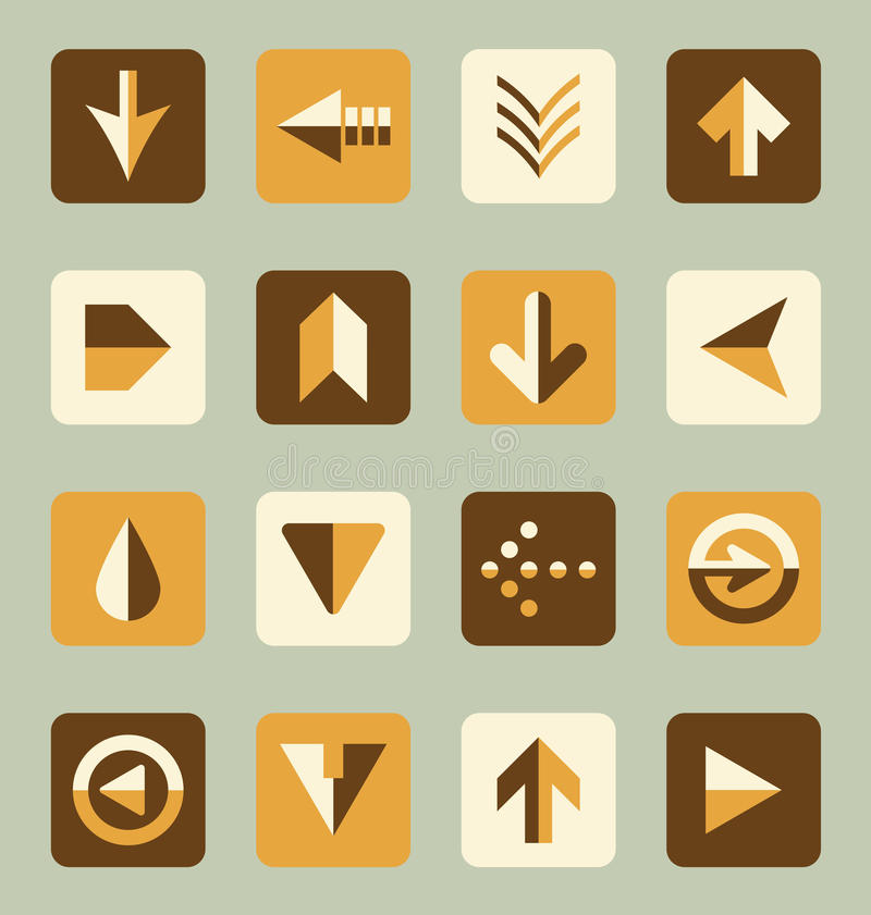 Vector Set: Retro Style Flat Arrow Buttons royalty free illustration