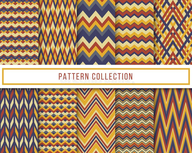 Vector set of 10 blue and yellow retro vintage chevron zigzag seamless pattern for wallpaper, fabric, wrapping, textile printing royalty free illustration