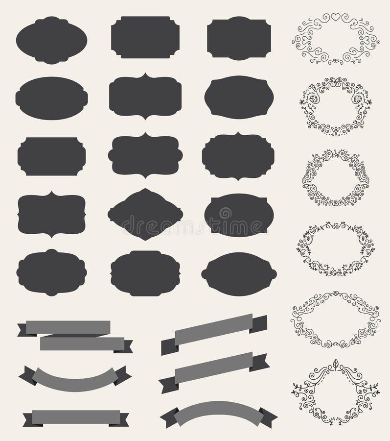Vector set of retro vintage labels, blank frames royalty free illustration