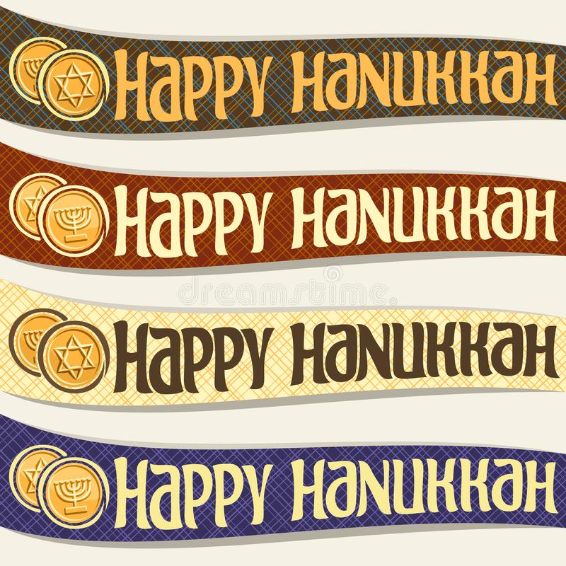 Vector set of ribbons for Hanukkah. Holiday, curved banners with golden coins, original decorative font for text happy hanukkah on abstract background royalty free illustration