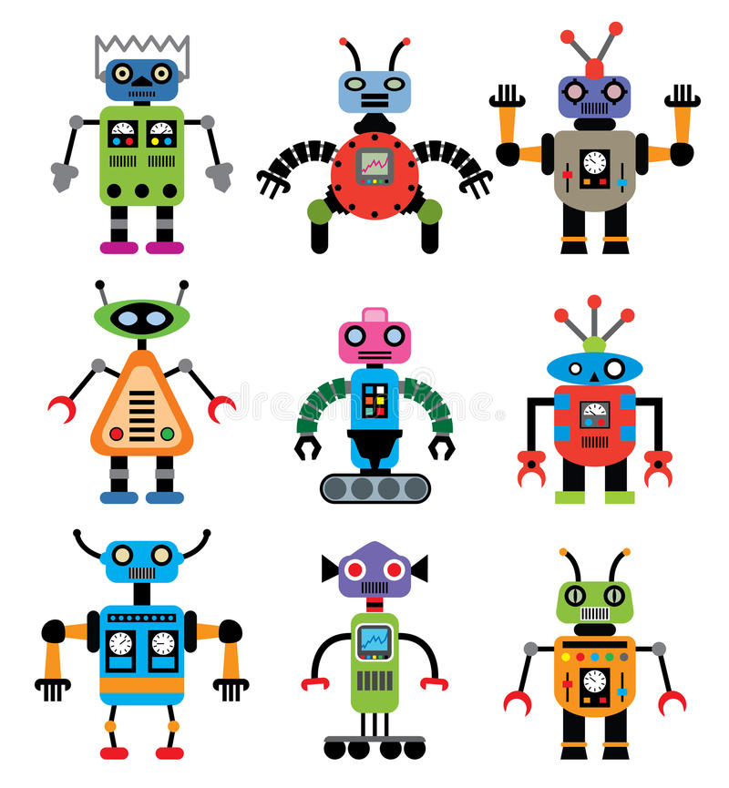 Download Vector set of robots stock vector. Image of retro, electrical - 22588521