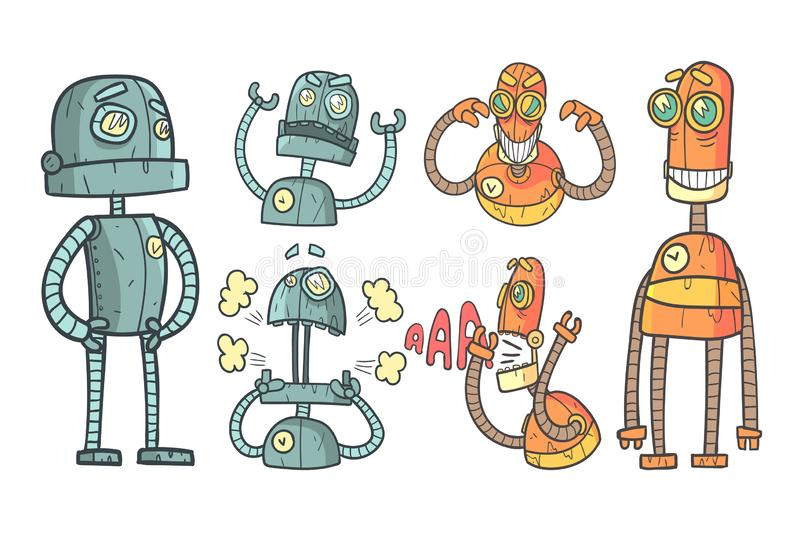 Vector set with robots in outline style with colorful fill. Gray and orange mechanical androids with different emotions stock illustration