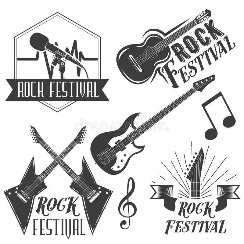 Vector set of rock festival labels in vintage style. Rock music instruments, microphone, guitar on white. Background. Design elements, emblems, badges, logo and vector illustration