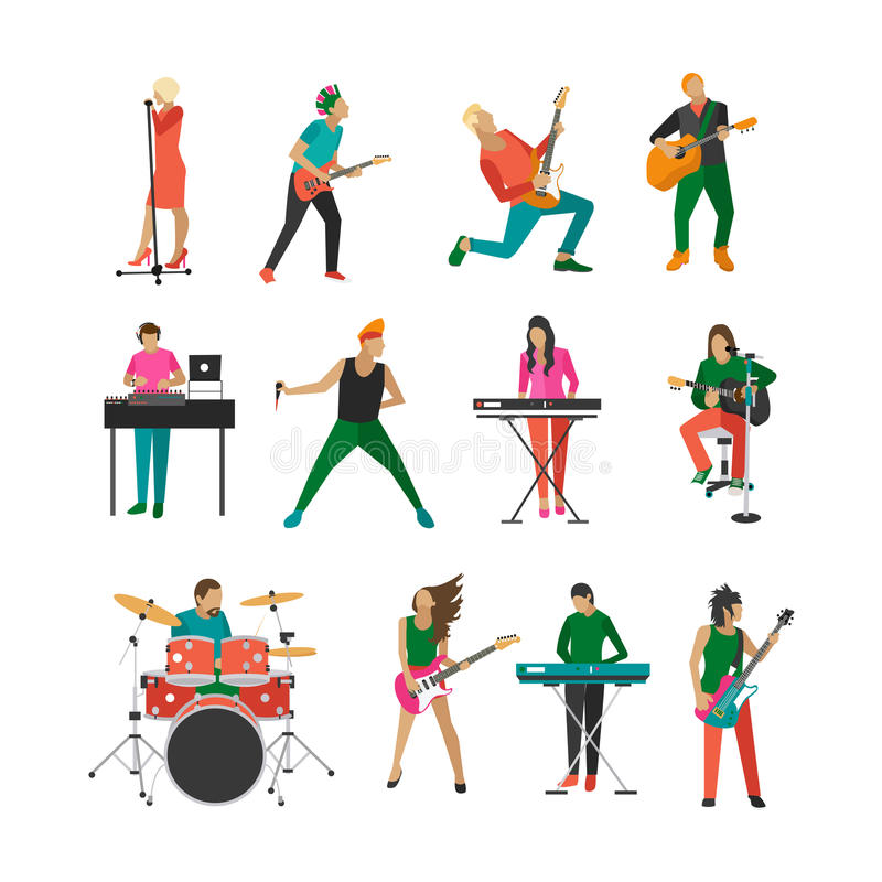 Vector set of rock musicians and singers. vector illustration