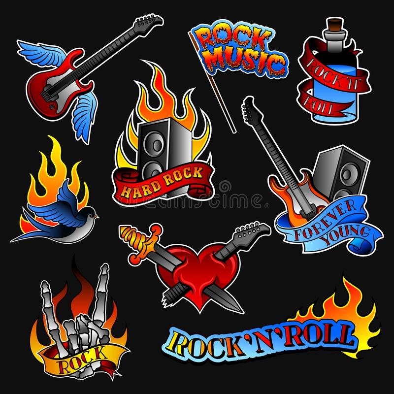 Vector set of rock tattoos. Bottle with ribbon, guitar and audio speaker, heart and swallow bird, skeleton hand with vector illustration