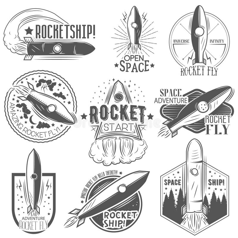 Vector set of rocket launch labels in vintage style. stock illustration