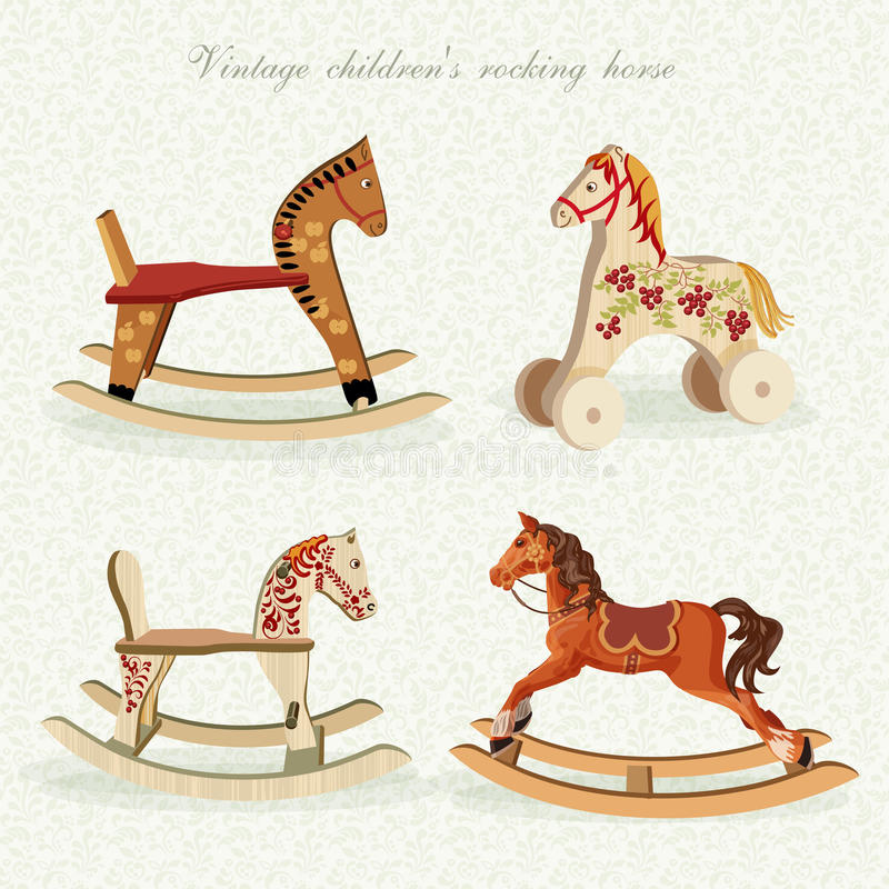 Vector set with rocking horses in vintage style. vector illustration