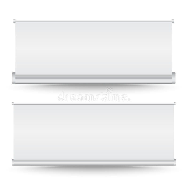 Vector set of roll up banner. On white background vector illustration