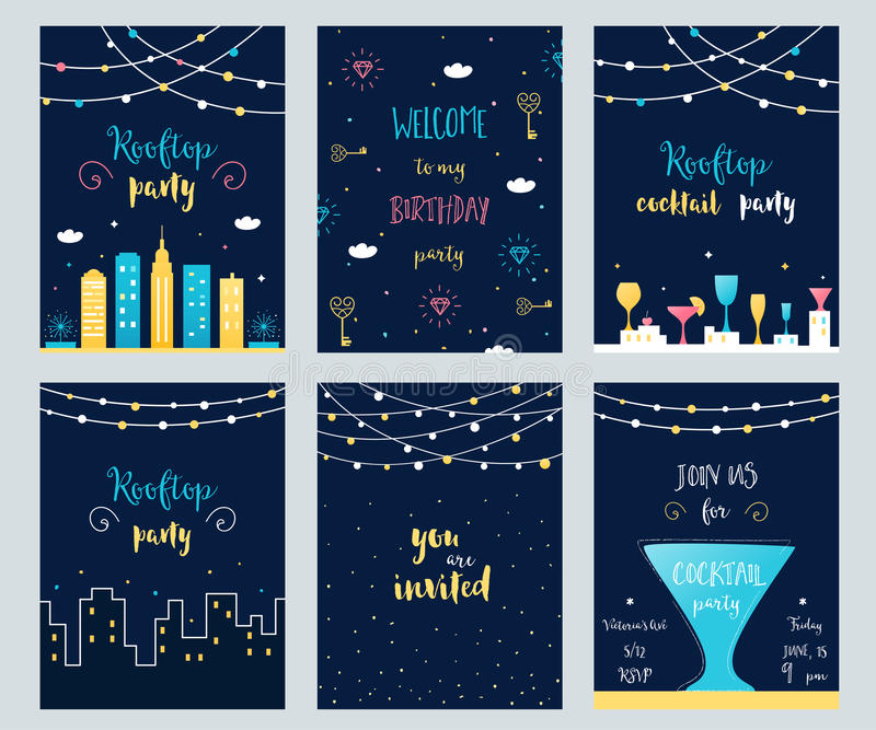 Vector Set of Rooftop, Cocktail and Birthday Party Invitation Cards with Light Garlands stock illustration