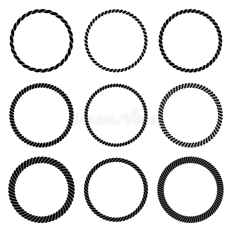Vector set of round black monochrome rope frame. vector illustration