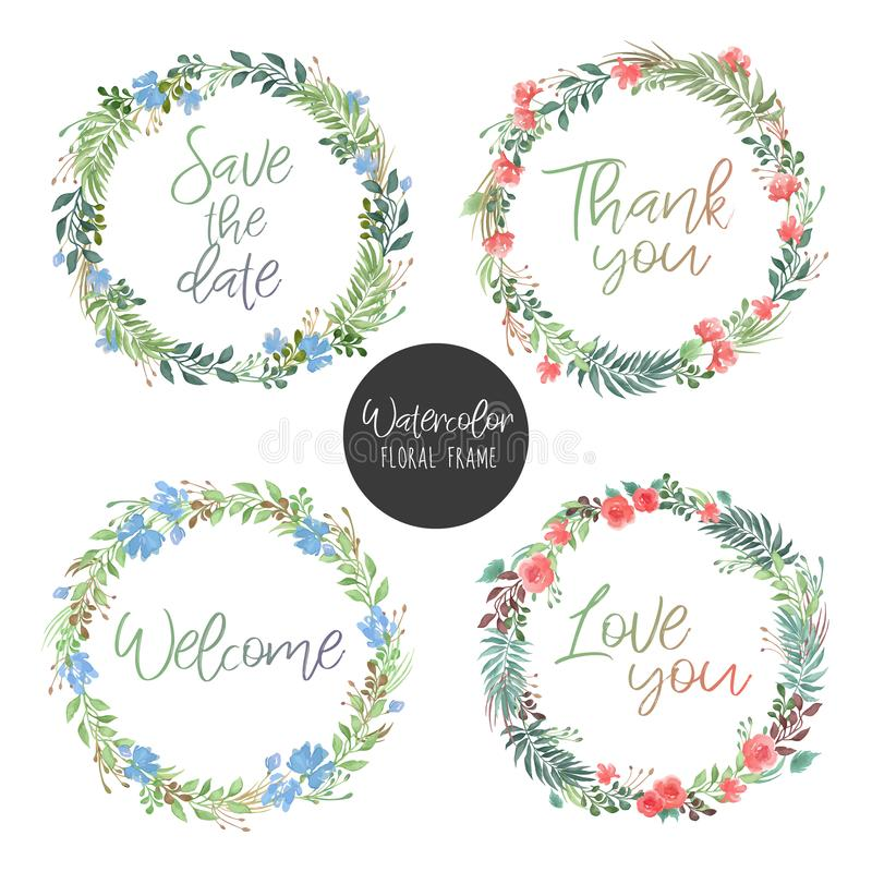 Vector set of round floral frames in watercolor style with green leaves, colorful flowers and text - greeting card or invitation vector illustration