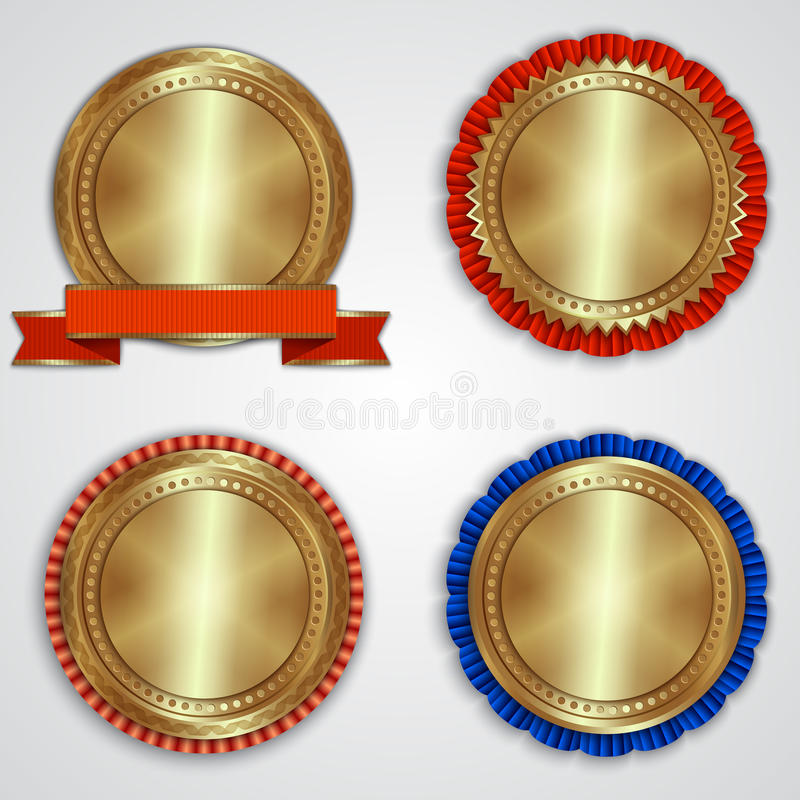 Vector set of round golden badge labels with royalty free stock photography