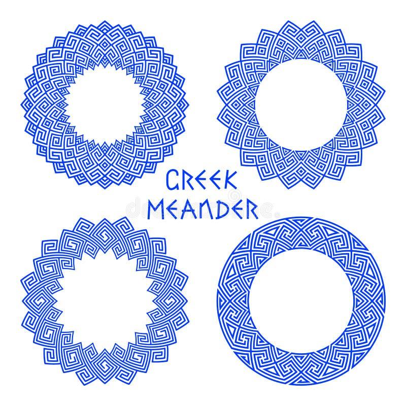 Vector set of round greek frames 1 royalty free illustration