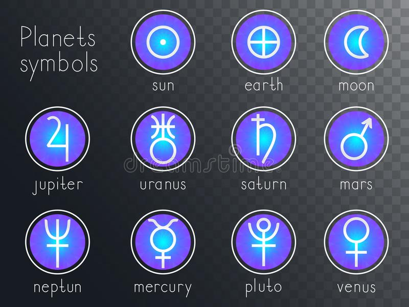 Vector set of round icons with astrological planets symbols. stock illustration