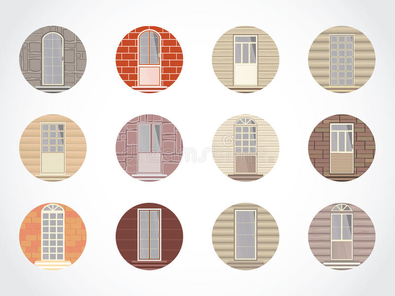Vector set of round icons of doors. Vector set of round colored icons of doors on different walls. Please see similar icons with windows vector illustration