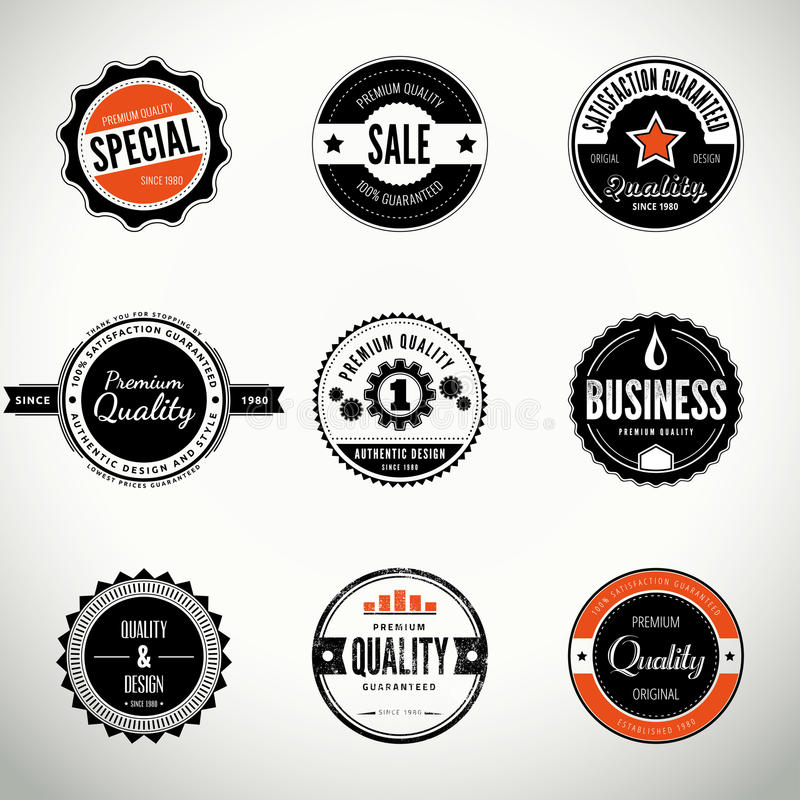 Vector set with round seals and badges vector illustration