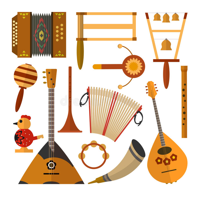 Vector set of Russian folk music instruments in flat style. Vector set of Russian folk music instruments. Flat style design elements, icons isolated on white stock illustration